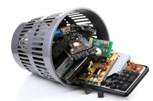 A basket of electronics waste ready for recycling